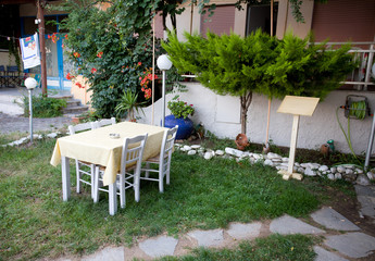 Dining Table In Courtyard