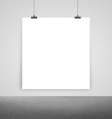 white poster on a wall