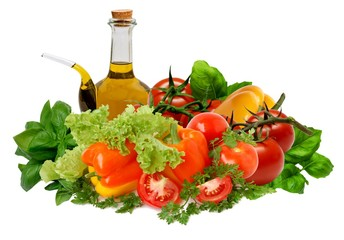 Mixed vegetables with oil and vinegar cruet