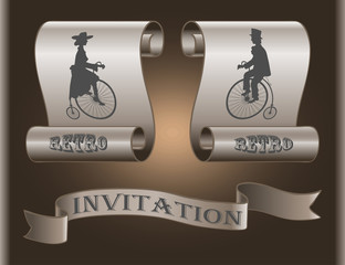 The lady and gentleman on an old bicycle on background banners as invitations
