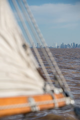 Sailing Buenos Aires City, cityscape. South American Adventure.