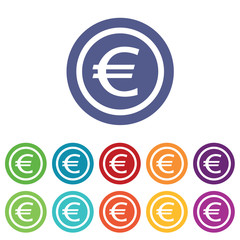 Euro signs colored set