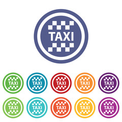Taxi signs colored set