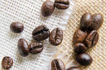 Coffee beans on burlap