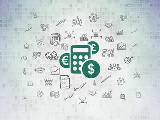 Finance concept: Calculator on Digital Paper background