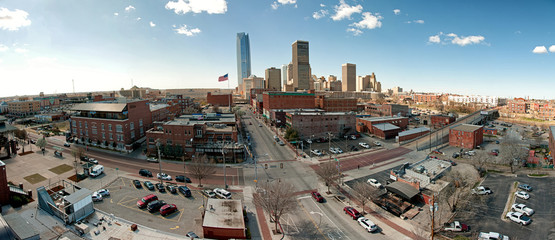 Oklahoma city downtown skyline with all of the skyscrapers from bricktown entertainment district