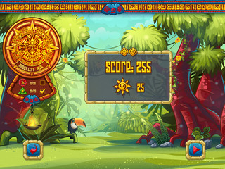 Illustration of the info window for a computer game Jungle Treasures