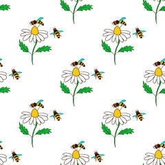 seamless pattern with bee - 4
