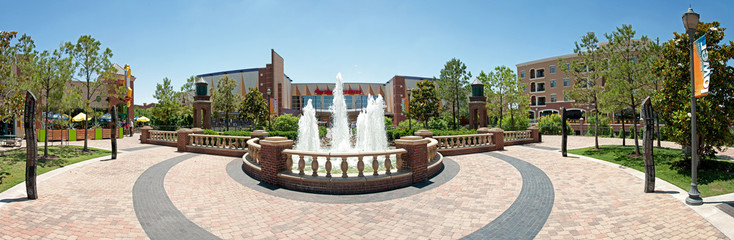 Water fountain in Downtown Oklahoma city in Bricktown entertainment area