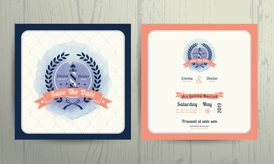 Vintage nautical lighthouse wreath wedding invitation card template