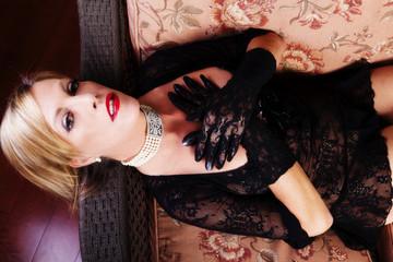 Reclining Blond Caucasian Woman Black Lace Dress