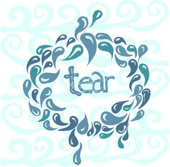The magic water, Drops of tears,circular pattern, blue waves, and the letters in the center, on a blue background
