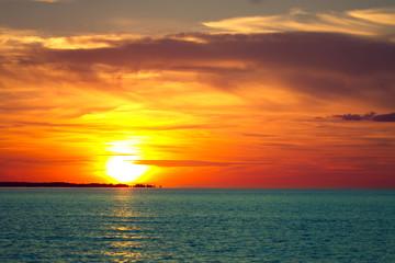 sunset on the sea.
