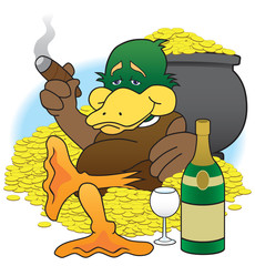 Cartoon duck enjoying his wealth