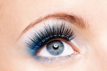 Beauty female eye with blue make