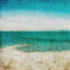 Abstract background. Golden sand beach with blue ocean and