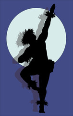 A silhouette of a muscular male Hula dancer