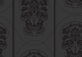 Black leafs skull damask pattern