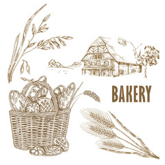 Hand drawn bread, farm house, oats, wheat