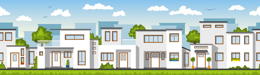 Wall Mural - Modern white houses, also usable as a continuous background