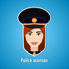 Vector illustration of a girl police. Woman police. The girl's face. Icon. Flat icon. Minimalism. The stylized girl. Occupation. Job. Uniforms, police cap.