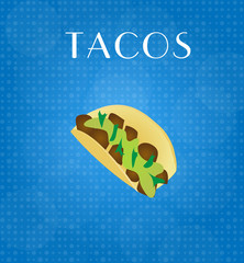 Food Menu Tacos with Blue Background EPS10