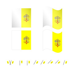 Vatican City Flags EPS 10