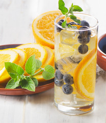 Fresh Detox water with fruit in a glass.