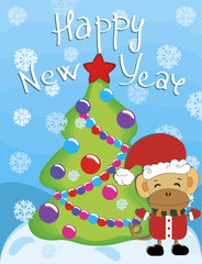 Christmas and New Year 2016. Monkey with fir tree