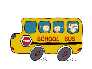 School Bus and Kids, Back to School