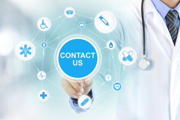 Doctor hand touching CONTACT US sign on virtual screen