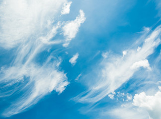 image of clear sky with white clouds on day time for background