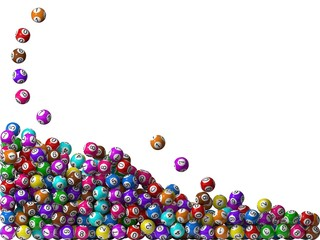 lottery balls stack, filling from left side
