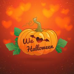 Happy Halloween we love halloween pumpkin vector illustration