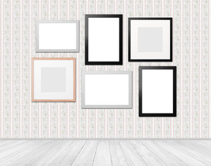 living room with different picture frames