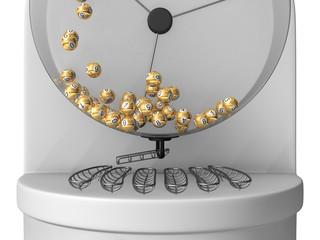 3d lottery machine concept, golden balls version.