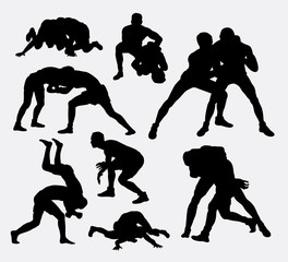 Wrestling sport silhouettes