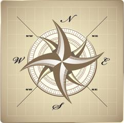 Wind rose compass retro design vector
