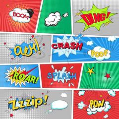 Comic colored speech bubbles in pop art style vs net