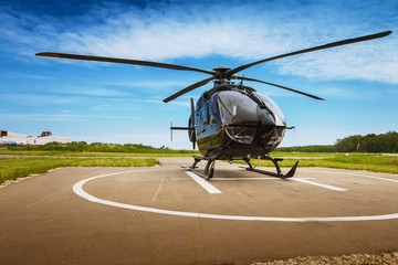 Printed kitchen splashbacks Helicopter The helicopter in airfield