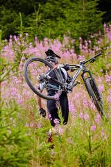 Mountain biker on trails