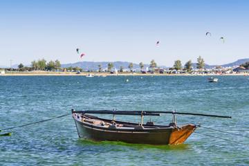 Anchored fishing boat