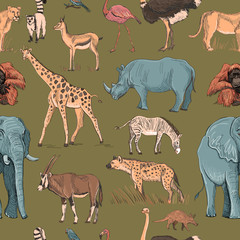 Seamless animal planet pattern