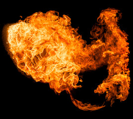 Fireball isolated on a black backround