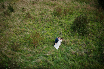 just married at grass, view from high