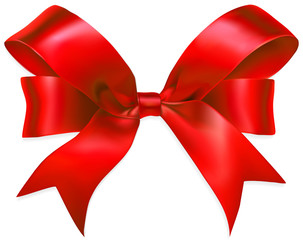 Red gift bow isolated on white background. Vector illustration