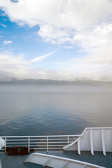 Fog Rolls in Canada's Inside Passage Passenger Ship Ferry