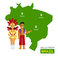 Travel Concept Brazil Landmark Flat Icons Design .Vector