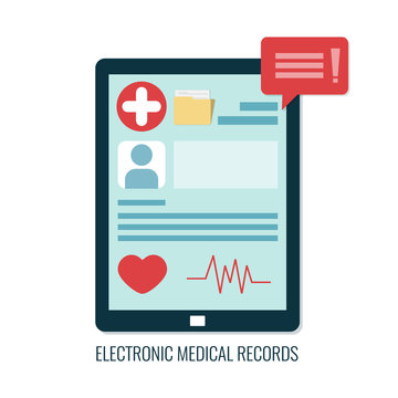 Electronic medical records on tablet computer. Online medical card.
