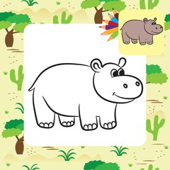 Cartoon hippo. Coloring page. Vector illustration